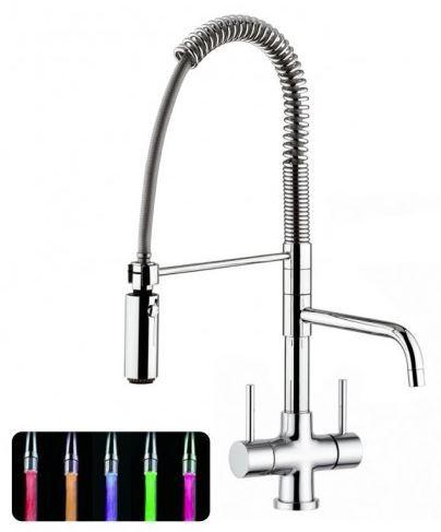 Designer Spiralfeder-Drei-Wege-Wasserhahn LUXURY LED Chrom
