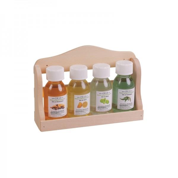 Aufguss-Wandregal mit 4 Flaschen je 100 ml
